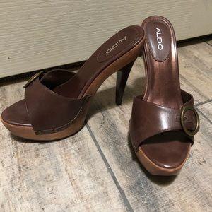 Aldo wood stiletto heels, 41